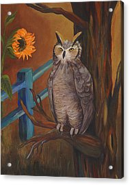 The Better Life- Owl Acrylic Print by Debbie McCulley