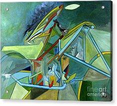 Cool Abstract Biker Print For Men Art Decor Gifts Acrylic Print by Marie Christine Belkadi
