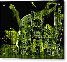 The Biomechanical Statue Garden Of Dr. Buttercup Acrylic Print by Laura Fedora
