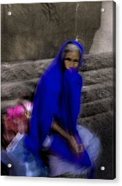 The Blue Shawl Acrylic Print by Lynn Palmer