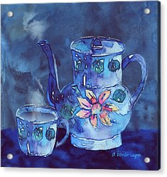 The Blue Teapot Acrylic Print by Arline Wagner