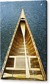The Bow And Oar Of A Handmade Wooden Acrylic Print by Bill Curtsinger