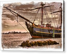 The Bow Of The Hms Bounty Acrylic Print by Debra and Dave Vanderlaan