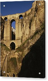 The Bridge At Ronda Spain Connects Acrylic Print by Stephen Alvarez