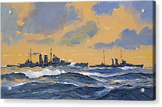 The British Cruisers Hms Exeter And Hms York  Acrylic Print by John S Smith