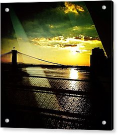 The Brooklyn Bridge At Dusk Acrylic Print