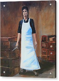 Acrylic Print featuring the painting The Butcher by Rosemarie Hakim
