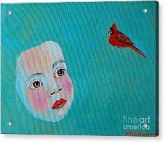 The Cardinal's Song Acrylic Print by Ana Maria Edulescu