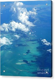 The Caribbean Sea From On High Acrylic Print by Anne Gordon