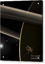 The Cassini Spacecraft In Orbit Acrylic Print by Steven Hobbs