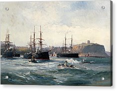 The Channel Fleet Off Scarborough Acrylic Print by William Lionel Wyllie