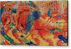 The City Rises Acrylic Print by Umberto Boccioni