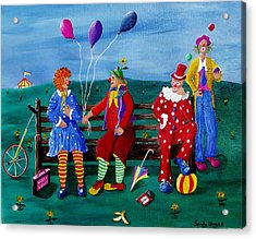 The Clowns Acrylic Print by Sandy Wager
