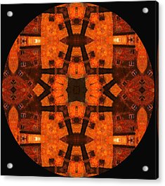 The Color Orange Mandala Abstract Acrylic Print by Georgiana Romanovna