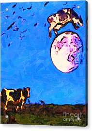 The Cow Jumped Over The Moon . Painterly Acrylic Print by Wingsdomain Art and Photography