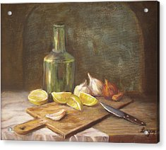 Acrylic Print featuring the painting The Cutting Board by Katalin Luczay