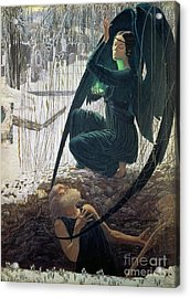 The Death And The Gravedigger Acrylic Print by Carlos Schwabe