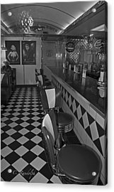 The Diner B And W Acrylic Print by Cheri Randolph