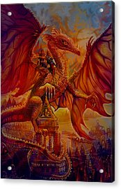 Acrylic Print featuring the painting The Dragon Riders by Steve Roberts