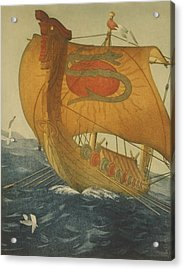 The Dragon Ship. Viking Ship At Sea Acrylic Print by Everett