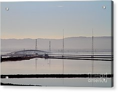 The Dumbarton Bridge In The Bay Area Viewed Through Coyote Hills California . 7d10961 Acrylic Print by Wingsdomain Art and Photography