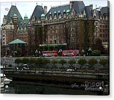 Acrylic Print featuring the digital art The Empress Hotel Victoria British Columbia Canada by Glenna McRae