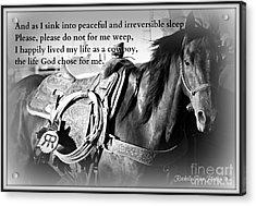 The Empty Saddle Acrylic Print by Rachelle Rice