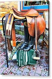 The English Saddle Acrylic Print by Paul Ward