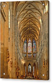 The Enormous Interior Of St. Vitus Cathedral Prague Acrylic Print by Christine Till