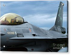 The F-16 Aircraft Of The Belgian Army Acrylic Print by Luc De Jaeger