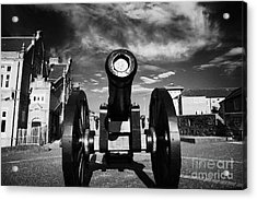 The Famous Roaring Meg Cannon On The Mall Wall And Double Bastion Section Of Derrys Walls Acrylic Print by Joe Fox