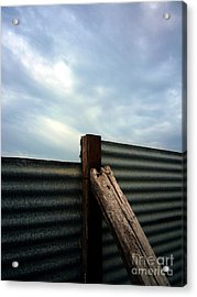 The Fence The Sky And The Beach Acrylic Print by Andy Prendy