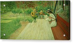 The First Lesson Acrylic Print by Carl Larsson
