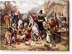 The First Thanksgiving, 1621, Pilgrims Acrylic Print by Everett