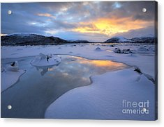 The Fjord Of Tjeldsundet In Troms Acrylic Print by Arild Heitmann