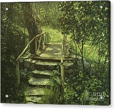 The Footbridge Acrylic Print by Michael John Cavanagh