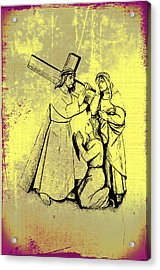 The Fourth Station Of The Cross - Jesus Meets His Mother Acrylic Print by Bill Cannon