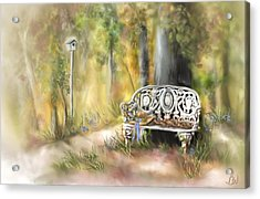 Acrylic Print featuring the painting The Garden Bench by Bonnie Willis