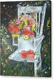 Acrylic Print featuring the painting The Garden Chair by Raymond Doward