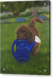Acrylic Print featuring the painting The Gardening Assistant by Sharon Nummer