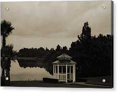 Acrylic Print featuring the photograph The Gazebo At The Lake by DigiArt Diaries by Vicky B Fuller