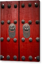 The Giant Red Doors To The Forbidden Acrylic Print by Justin Guariglia