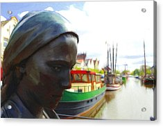 The Girl At The Harbor Acrylic Print by Steve K
