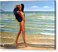 The Girl On The Beach Acrylic Print by Dimitris Papadakis