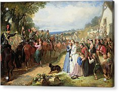 The Girls We Left Behind Us - The Departure Of The 11th Hussars For India Acrylic Print by Thomas Jones Barker