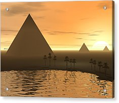 Acrylic Print featuring the digital art The Giza Necropolis by Phil Perkins
