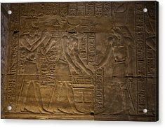 The Gods Horus, Hathor And The Pharaoh Acrylic Print by Taylor S. Kennedy