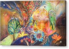 The Golden Jerusalem Acrylic Print by Elena Kotliarker