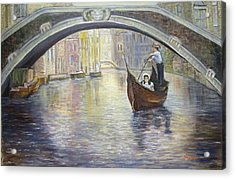 Acrylic Print featuring the painting The Gondolier Venice Italy by Luczay
