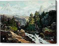 The Grand Tetons By Thomas Moran Study By W Scott Fenton Acrylic Print by W  Scott Fenton